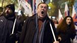 Manifestación contra la seguridad social del Gobierno y las reformas en las pensiones, durante una marcha hacia el Parlamento en el centro de Atenas, el 26 de enero de 2016. AFP / Louisa Gouliamaki